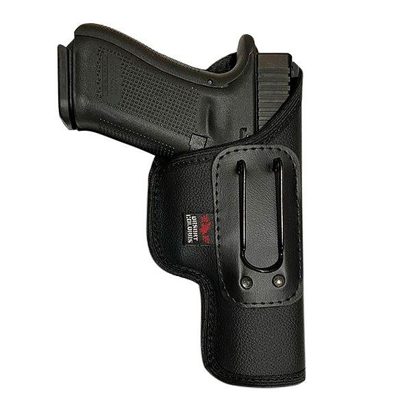 Coldre Velado Para Pistolas Glock G17, G22 e Taurus TH9, TH40, TH380 em Neoprene e Couro P.U (Sem Aba)