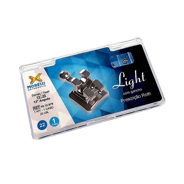 "Kit de Bráquetes Prescrição Roth - Light .022"" - Can. 13° Ang. Gancho Can./Prés Morelli"