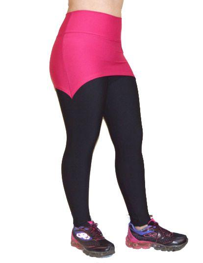 4b54d6fbb Calça Legging Saia Preta com Rosa - Celeiro Fitness Atacado