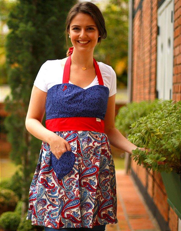 Avental Juliette Arabescos Azul Marinho e Vermelho