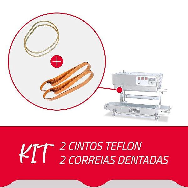 2 Cintos Teflon + 2 Correias Dentadas para Seladora Contínua SF150