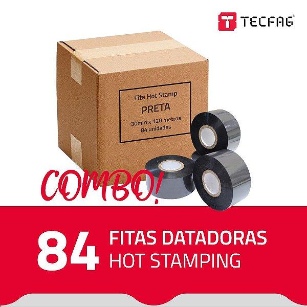 Fita Datadora Hot Stamping HS30 30 mm x 120 m - Preta - (Caixa com 84 unidades)