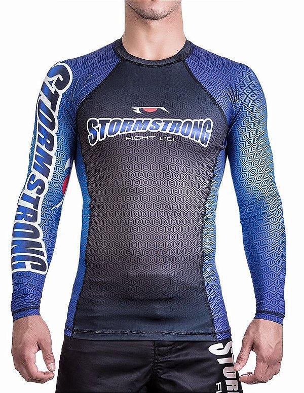 Rash Guard Preta/Azul ML Camiseta Lycra StormStrong