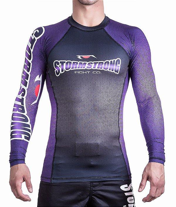 Rash Guard Preta/Roxa ML Camiseta Lycra StormStrong