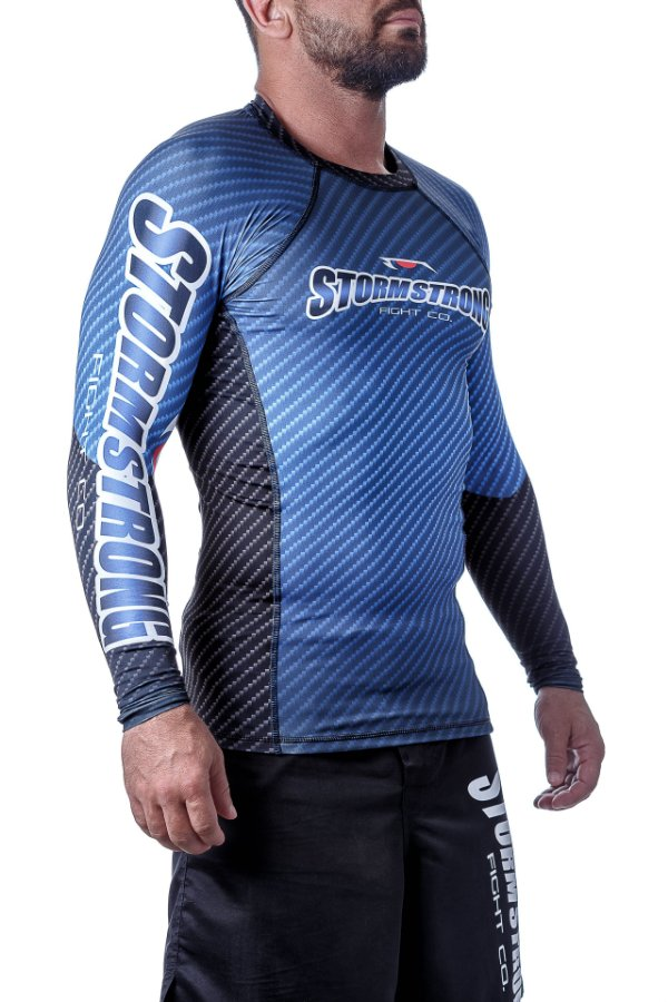 Rash Guard Carbon Azul ML Camiseta Lycra StormStrong