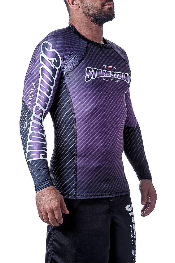 Rash Guard Carbon Roxa ML Camiseta Lycra StormStrong