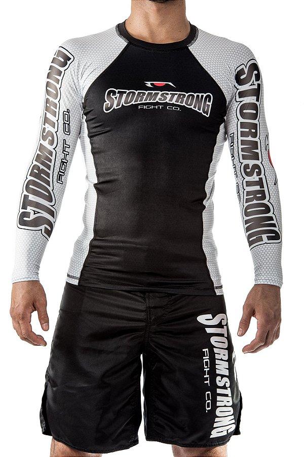 Rash Guard Oficial Branca ML Camiseta Lycra StormStrong