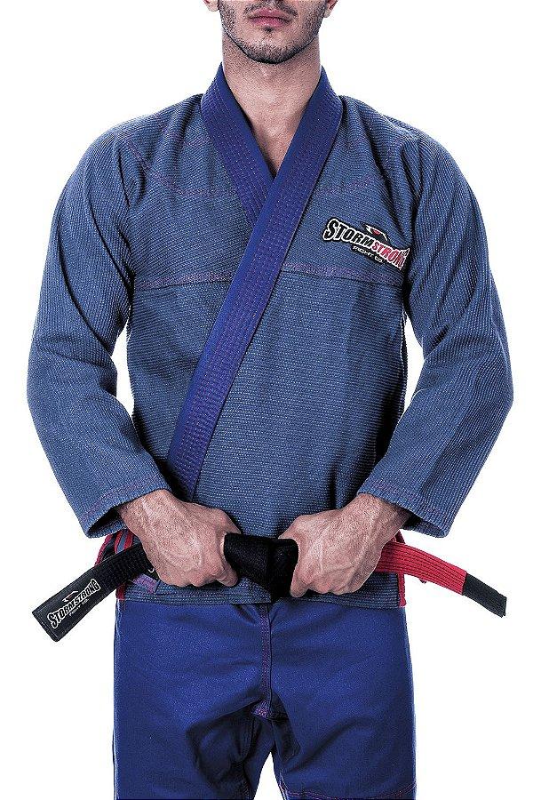 Kimono STORMSTRONG Jiu-Jitsu Red Line Azul Marinho Stone