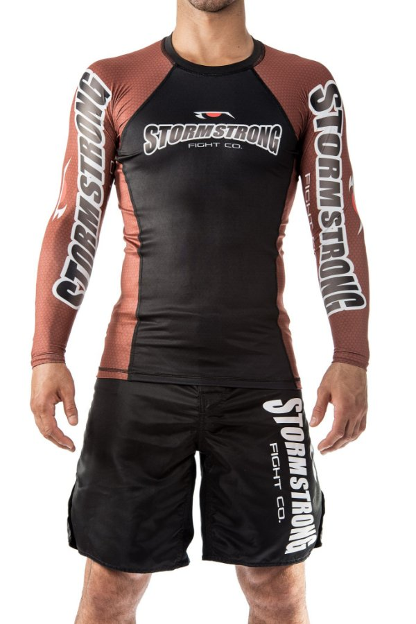 Rash Guard Oficial Marrom ML Camiseta Lycra StormStrong