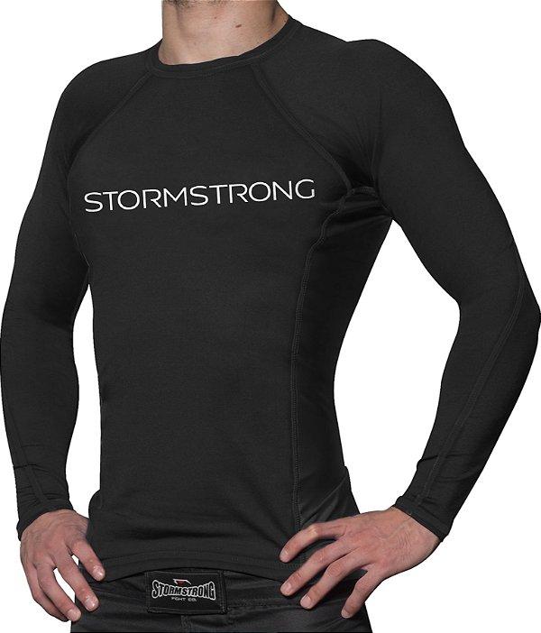 Rash Guard Brand Preta ML Camiseta Lycra StormStrong