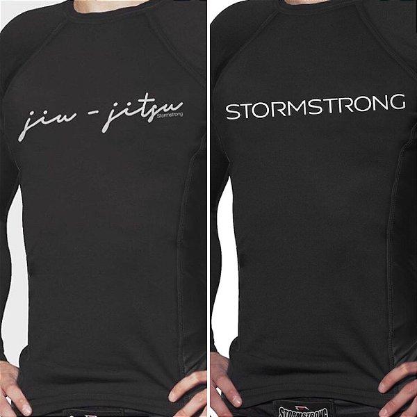 Kit 1 Rash Guard Signature + 1 Brand Preta ML Camiseta Lycra StormStrong