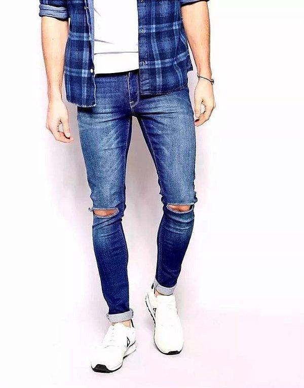06a540648 Calca jeans masculina Destroyed rasgada Skinny Lycra Azul ...