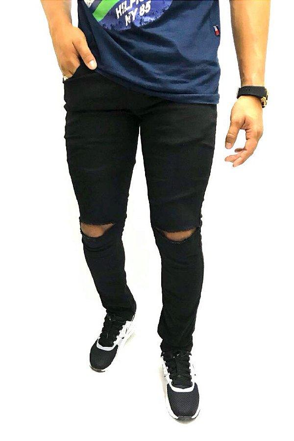Calca jeans masculina Destroyed Joelho Skinny Lycra Preta Moda 2018 ... 0119b3bdd73a0