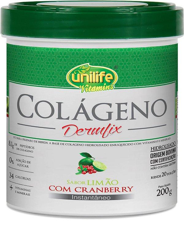 Colageno Hidrolisado Dermfix em Pó 200g - Limão com Cranberry - Unilife