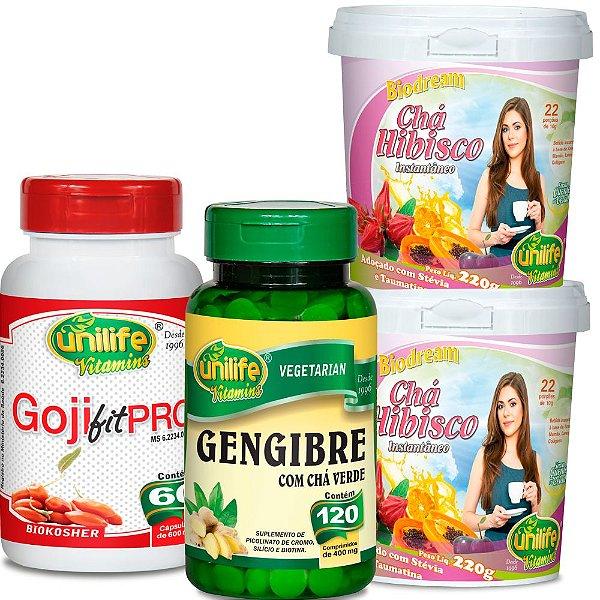 Kit Emagrecer Rápido 30 dias com Gojiberry, Gengibre e Hibisco