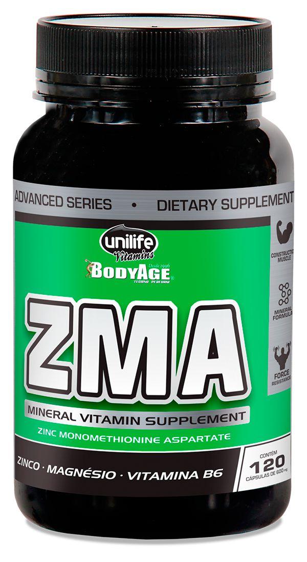ZMA 120 Cápsulas - Zinco, Magnésio E Vitamina B6 Unilife