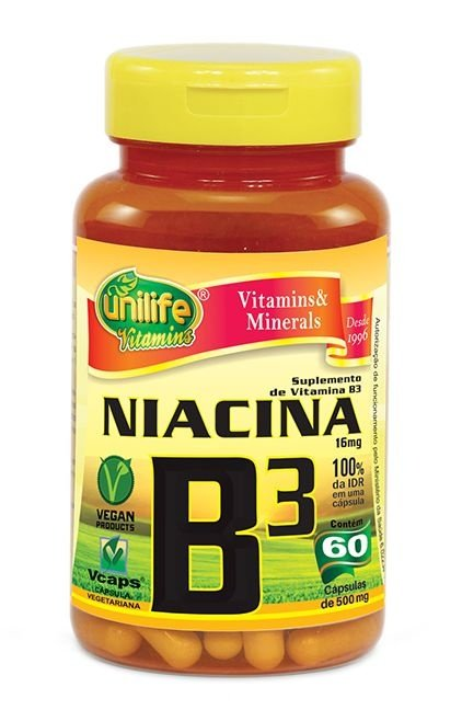 Vitamina B3 Niacina 60 Cápsulas (500mg) - Unilife