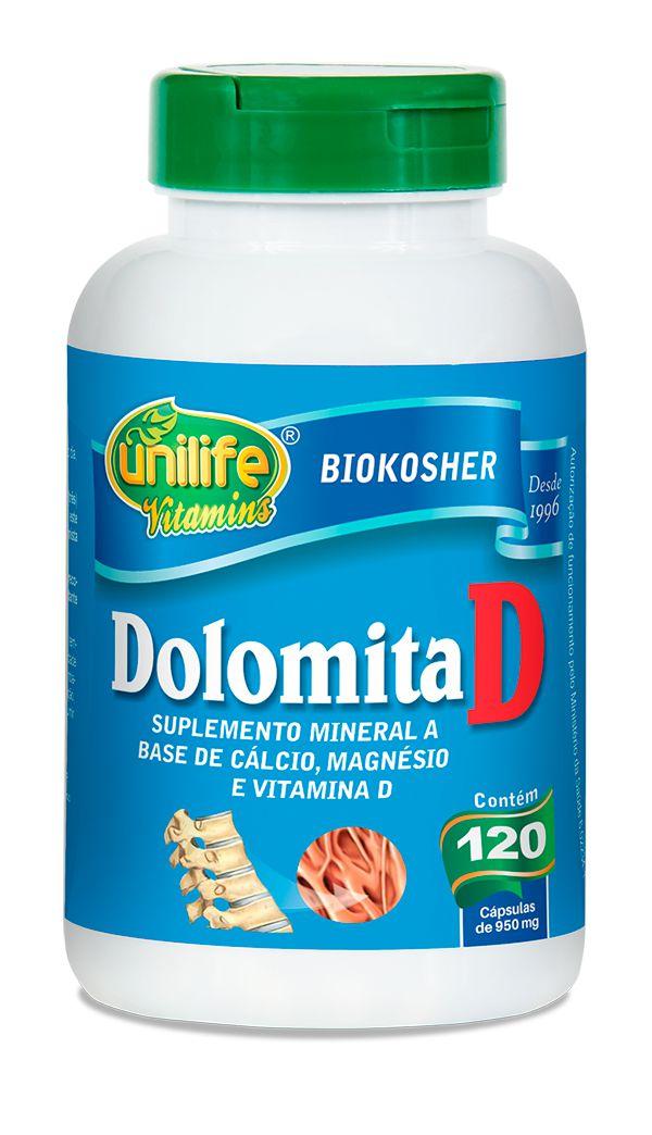 Dolomita com Vitamina D 120 Cápsulas (950mg) - Unilife