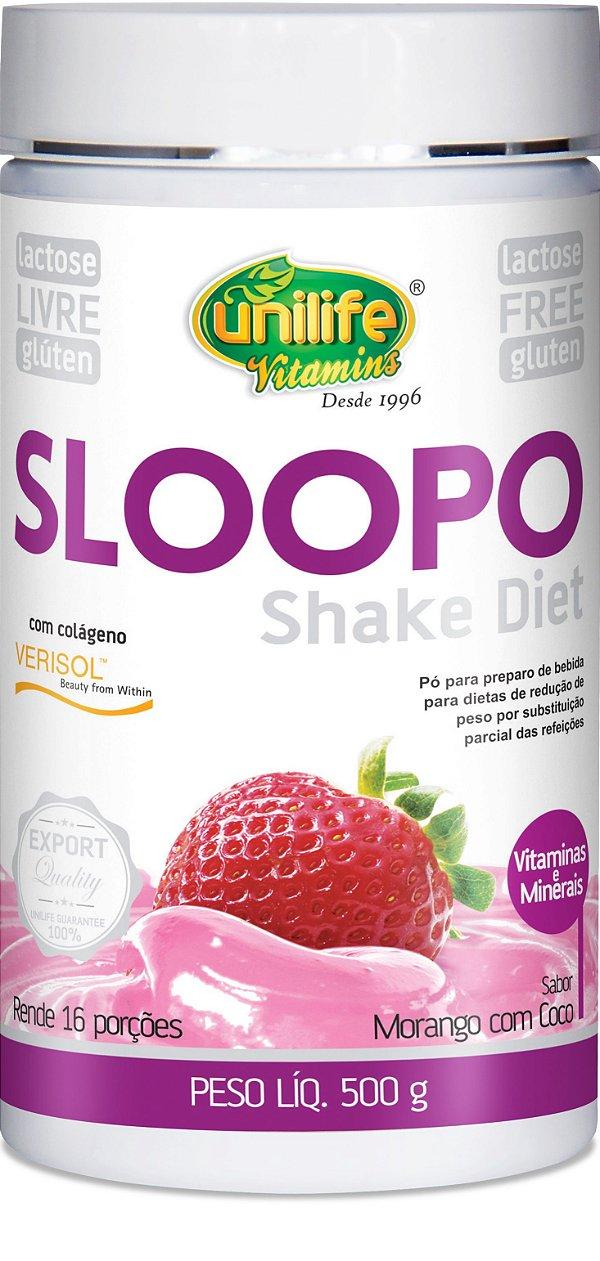 Shake Diet  Sloopo Sabor Morangocom Coco (500g) - Unilife