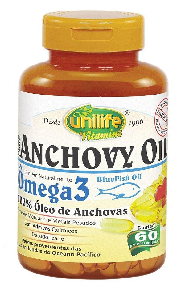 Ômega 3 Anchovy Oil 60 Cápsulas (1200mg) Óleo de Anchovas - Unilife