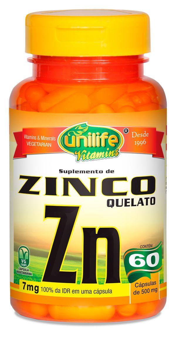 Zinco ZN Quelato 60 cáps (500mg) - Unilife