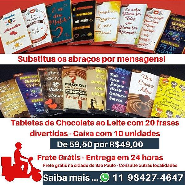 Tabletes de Chocolate ao Leite - Frase Divertidas