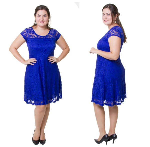 Vestido Estilo Fino Plus Size Renda