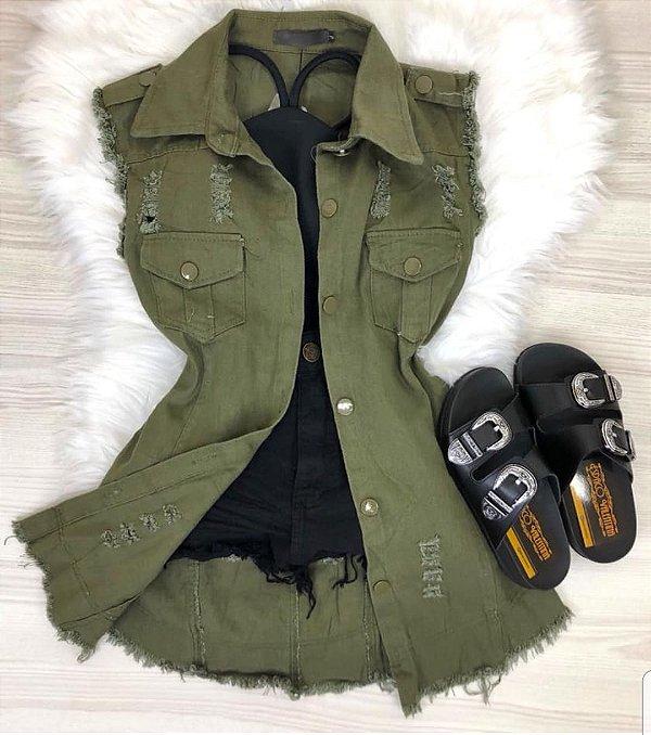 Maxi Colete Jeans Verde Militar