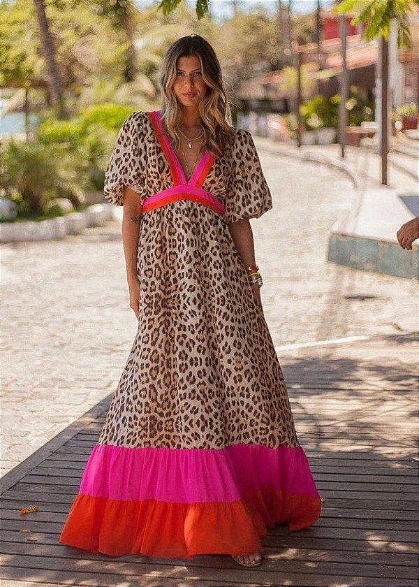 Vestido Animal Print Longo