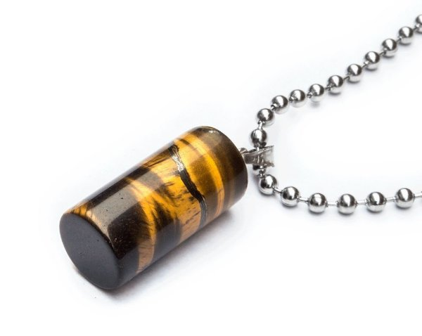 Colar Masculino Aço Inox Pingente Pedra Olho de Tigre CILINO - Cod C123