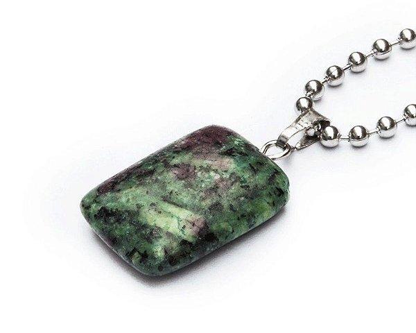 Colar Masculino Aço Inox Pingente Pedra Rubi Zoisite Natural MATER - Cod C122