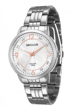 340400269e1 Relógio Feminino Analógico Seculus 28528L0Sgna1 – Cromado - Atlantis ...