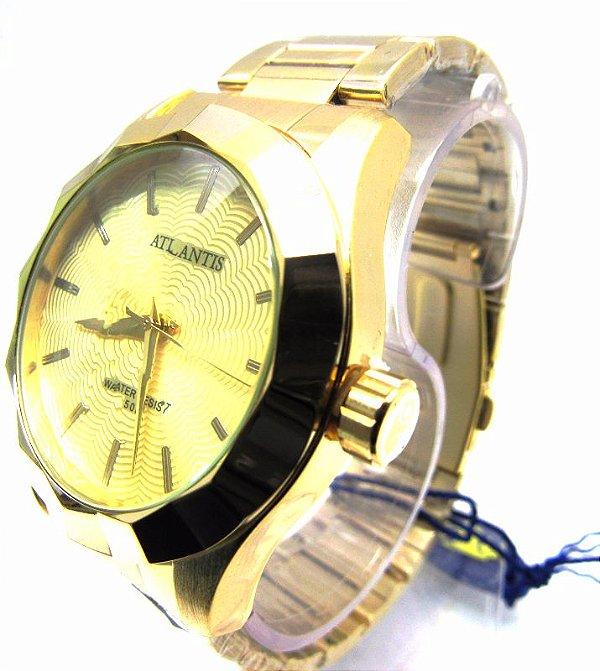 3a3ae247d4b Relogio Atlantis Feminino G3434 Fundo Dourado - Atlantis Relógios