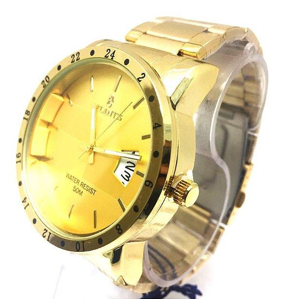 31103a95e6a Relogio Atlantis Masculino G3242 Fundo Dourado - Atlantis Relógios
