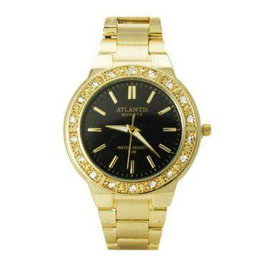 5690fea00e2 RELOGIO FEMININO ATLANTIS DOURADO FUNDO PRETO G3444 - Atlantis Relógios