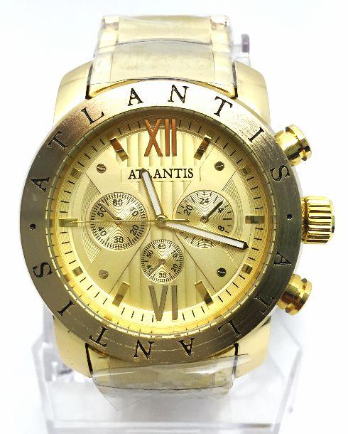 6a1335b1842 RELOGIO MASCULINO ATLANTIS A3310 FUNDO DOURADO - Atlantis Relógios