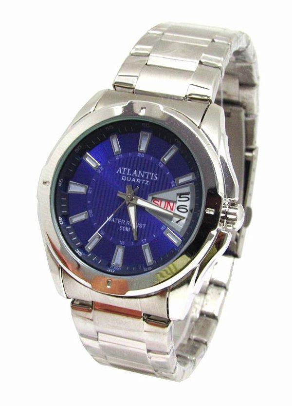 54010f8704f RELOGIO MASCULINO ATLANTIS G3121 FUNDO AZUL - Atlantis Relógios