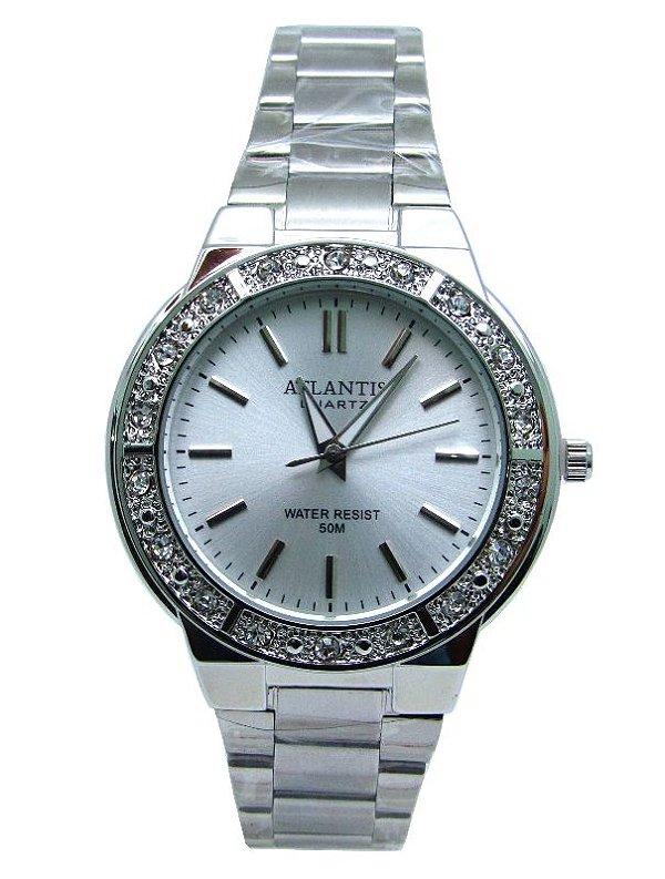 b24611857a4 RELOGIO FEMININO ATLANTIS G3444 PRATA FUNDO BRANCO - Atlantis Relógios