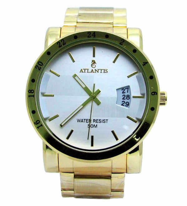 54ce80906ae RELOGIO ATLANTIS MASCULINO DOURADO G3242 FUNDO BRANCO - Atlantis ...
