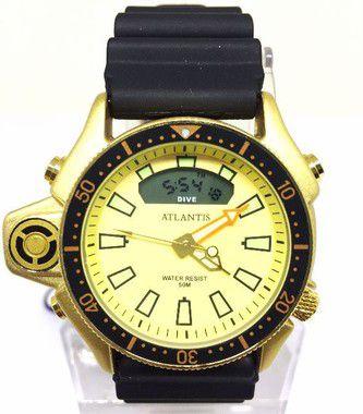 8bc33f56a03f2 Relogio Masculino Atlantis G3220 Borracha Fundo Dourado - Atlantis ...