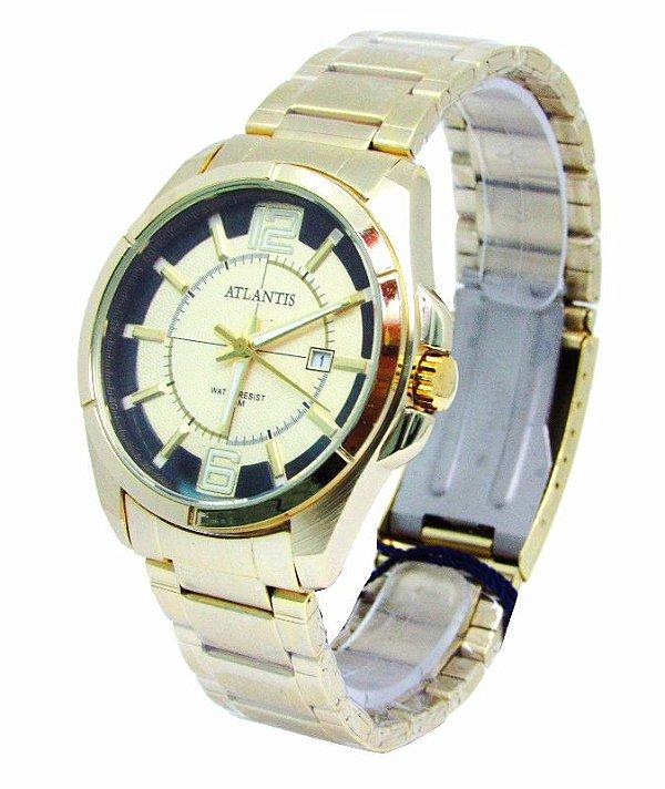 0a97787a07c RELOGIO ATLANTIS MASCULINO G3332 SOCIAL DOURADO - Atlantis Relógios
