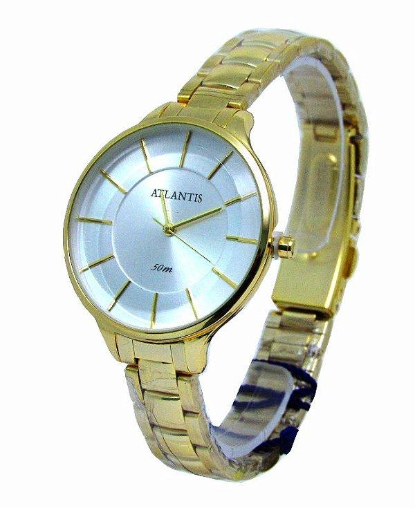 c4286ef57bd RELOGIO ATLANTIS FEMININO B3437 DOURADO FUNDO BRANCO - Atlantis Relógios