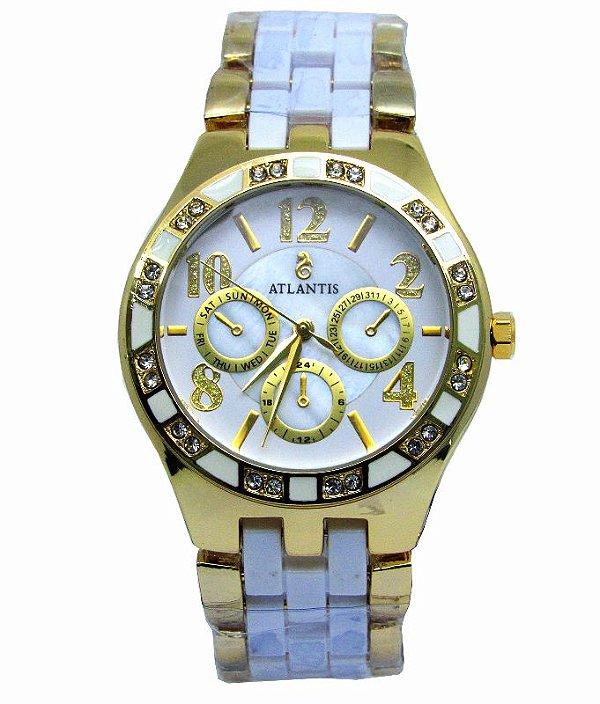 ba2cc5a68e9 RELOGIO FEMININO ATLANTIS G3264 DOURADO - Atlantis Relógios