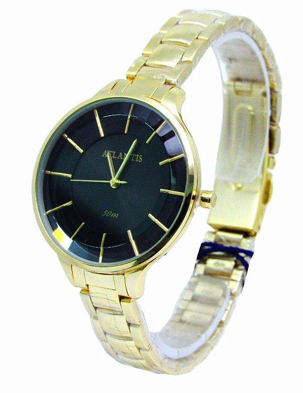 523b0d96b39 RELOGIO ATLANTIS FEMININO B3437 DOURADO FUNDO PRETO - Atlantis Relógios