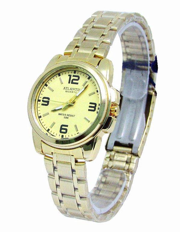0e7d2e860d5 RELOGIO FEMININO ATLANTIS W3196 FUNDO DOURADO - Atlantis Relógios