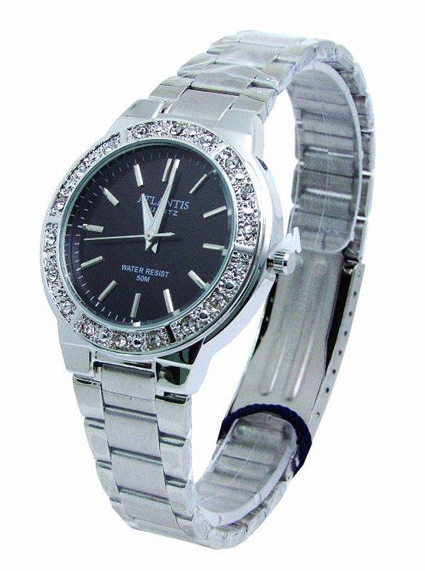 333724703da RELOGIO FEMININO ATLANTIS G3444 PRATA FUNDO PRETO - Atlantis Relógios