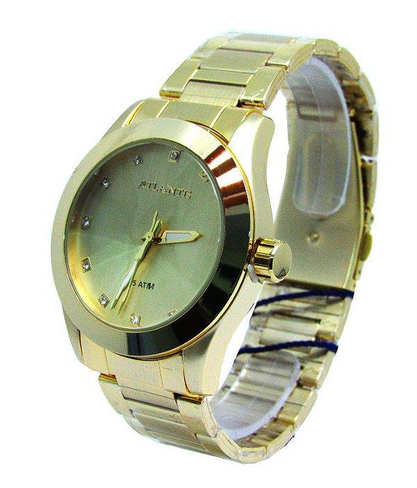 936a2e67b75 RELOGIO FEMININO ATLANTIS G3352 FUNDO DOURADO - Atlantis Relógios