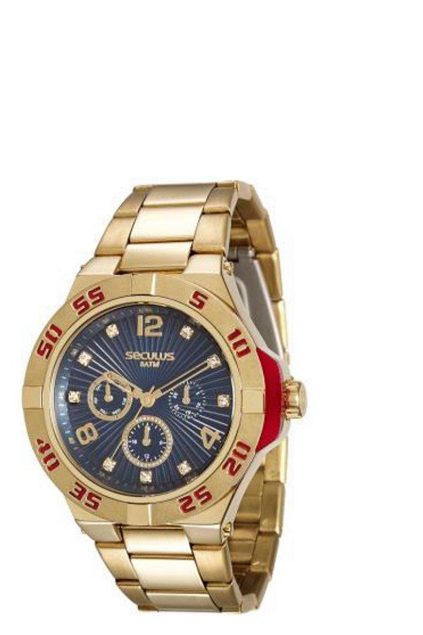 965ef0034df Relógio Feminino Dourado Seculus Analógico 28779LPSVDS2 - Atlantis ...
