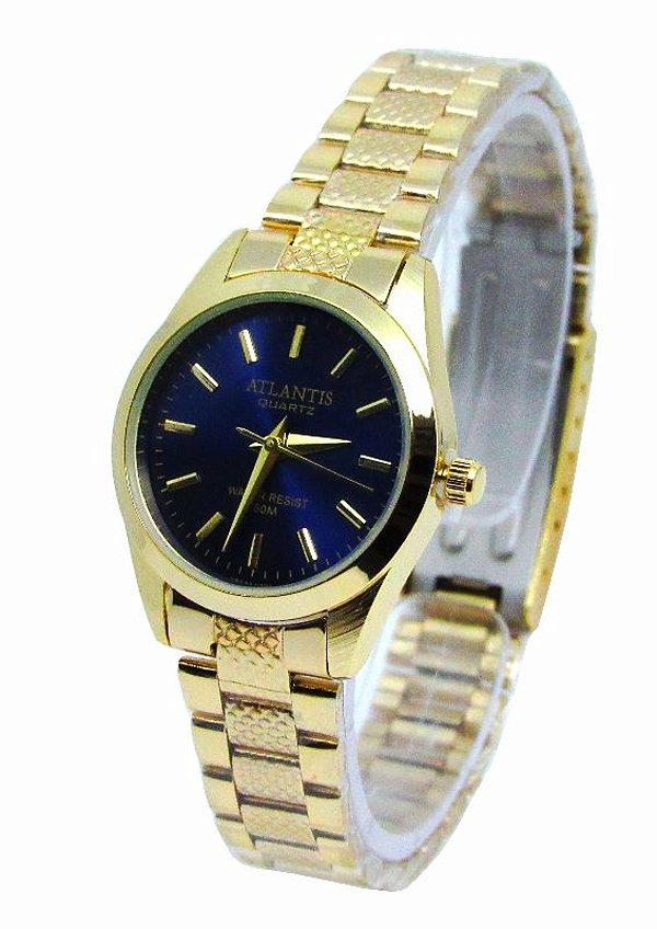 b822a11cf8a RELOGIO FEMININO ATLANTIS W3054 DOURADO FUNDO AZUL - Atlantis Relógios