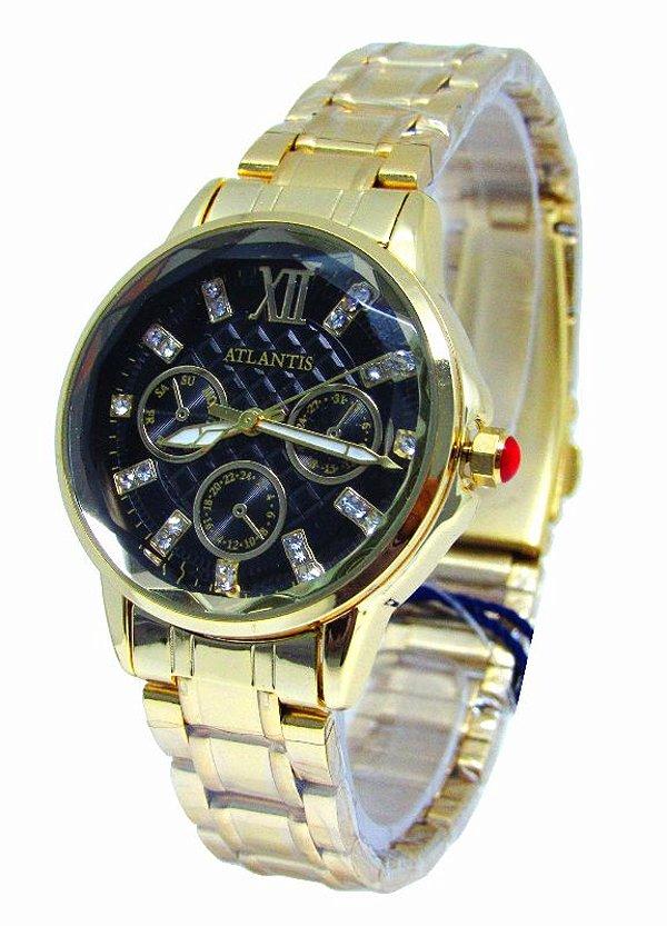 521d2534dca RELOGIO ATLANTIS FEMININO B3345 DOURADO FUNDO PRETO - Atlantis Relógios